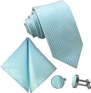 Gassani - Set di 3 cravatte da uomo con strisce, gemelli e fazzoletto in 19 colori | Set di cravatte tinta unita a righe e...