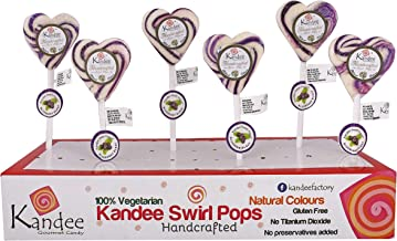 Kandee Swirl Pops Sweet Heart Blueberry Blast (Pack of 6 Natural Colour Candy Lollipop)