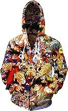 CHENMA Men Dragon Ball Long Sleeve Full-Zip Bomber Jacket Hooded Varsity Jacket