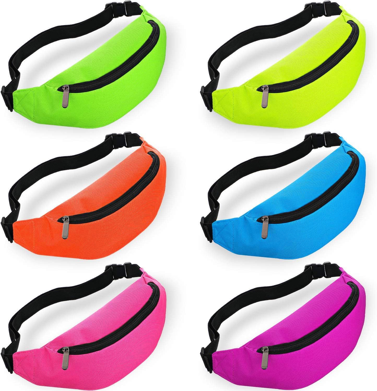 6 Pieces Neon Bachelorette Fanny Pack Set 80s Party Waist Bag Adjustable Waist (Purple, Blue, Green, Rose, Orange, Yellow)