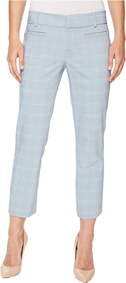 Vera Cropped Trousers in a Soft Windowpane in Dusty Blue