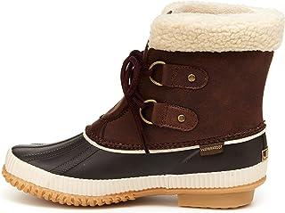 """JBU Womens Akron Waterproof Duck Boots Ankle Low Heel 1-2"""" - Brown - Size 7 M"""