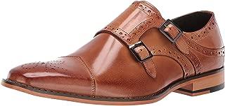 STACY ADAMS Men's Tayton Cap Toe Double Monk Strap Loafer, tan, 7.5 M US