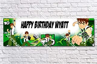 Ben 10 Ten - Personalized Birthday Name Poster with Custom Name On it, Border Mat and Frame Options