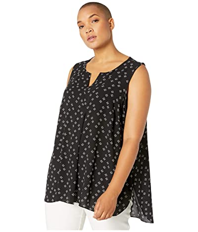 Vince Camuto Specialty Size Plus Size Sleeveless Playful Foulard Split-Neck Pleat Front Blouse (Rich Black) Women