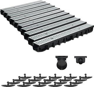 Bielbet Entw/ässerungsrinne h= 55mm 14,50/€//m 5m Set inkl.2 Endkappen und Anschlussst/ück DN110
