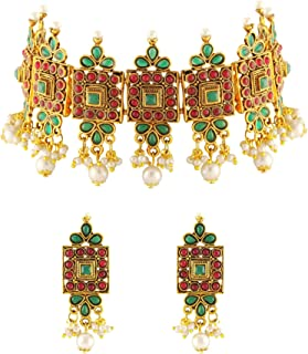Matushri Art Indian Traditional Beautiful Chokar Jewelry with Pearls Combination Necklace Set for Women and Girls.