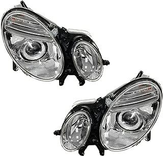 Headlights Headlamps Left & Right Pair Set for 07-09 Mercedes Benz E Class