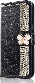 Miagon Diamantfodral för Huawei P Smart 2021, glitter strass kedja fjäril PU-läder folio flip plånbok fodral magnetisk stä...
