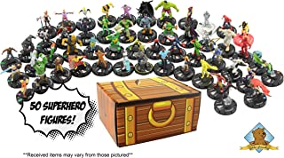 Box of Minis! 50 Random Superhero Miniature Figures! Includes Golden Groundhog Treasure Chest Storage Box!