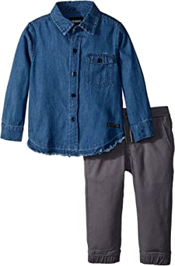 Hudson Kids - Two-Piece Denim Shirt w/ Twill Jogger Pants Set (Infant)