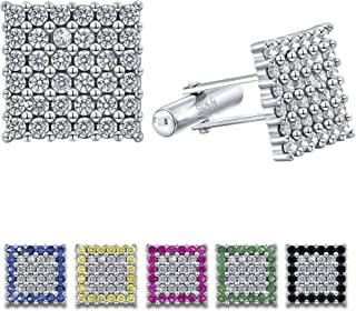 Men's Sterling Silver .925 Original Design Square Cufflinks with Cubic Zirconia (CZ) Stones, Platinum Plated, Secure Solid Hinges, 15mm Square. Available in Black, White, Green, Pink, Yellow, Blue