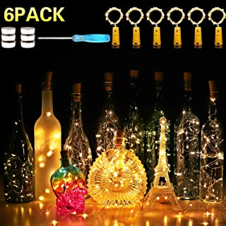 Wine Bottle Lights with Cork,CUUCOR 7.2ft 20 LED Battery Operated Fairy String Lights for DIY,Christmas,Party(Warm White,6 Pack)