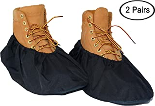2 Pairs Non Slip waterproof Reusable shoe Covers for contrators and Carpet Floor Protection, Machine Washable. Large