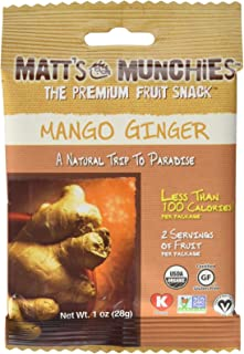 Matt's Munchies Mango Ginger Organic Non-GMO Peelable Fruit Snack 12 Pack Caddy (1 Ounce)