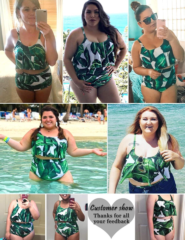 ADOME Women Bikini Set Tummy Control Swimsuit Two Piece High Waist Floral Swimwear Plus Size