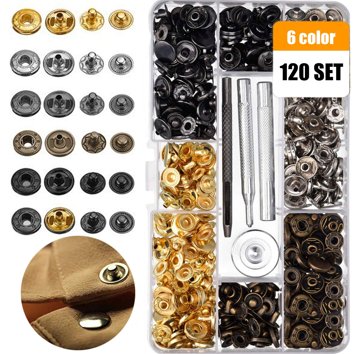 Korbond Pack of 24 24 Brass Sew On Snap Fasteners Black and Nickel Finish