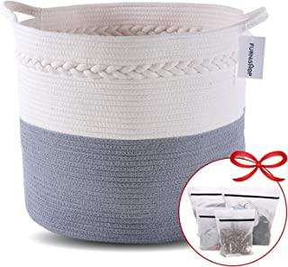 """FURNISHOP Blanket Basket for Living Room 