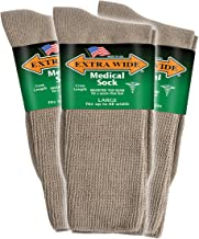 Extra Wide Men's Tan Medical (Diabetic) Mid Calf Crew Sock, Shoe Size 11 - 16 Up to 6E Wide 3PK, Antimicrobial, Made