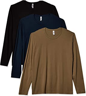 Marky G Apparel Men's Premium Fitted Long Sleeve Crewneck T-Shirt Tees (Pack of 3)