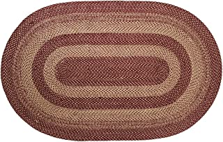 VHC Brands 9496 Classic Country Primitive Flooring-Burgundy Tan Jute Red Rug, 60 x 96, Non-Stenciled
