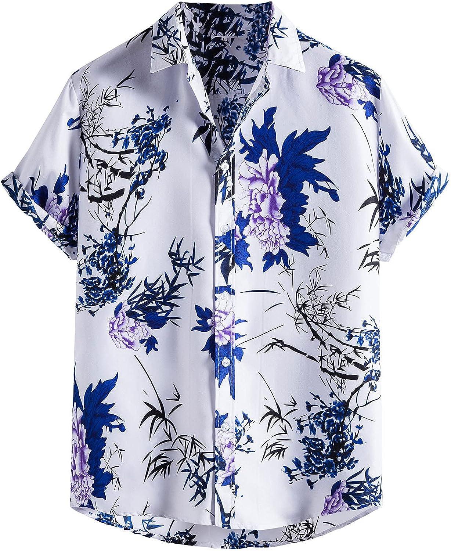 Men's Cotton Button Down Short Sleeve Hawaiian Shirt Flower Casual Print Holiday Tshirt Summer Beach Shirts