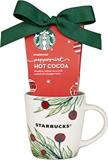 Starbucks Cup 'O Cheer Holiday Hot Chocolate Cocoa Gift Set, Includes Ceramic Mug and Peppermint Cocoa