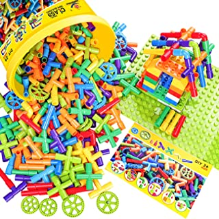 WishaLife 250 Pieces Toy Pipe, Tube Locks Set, Tubular Spout Construction Building Blocks Set, Fun Educational STEM Building Construction Toys with Wheels, Parts and Storage Box for Kids Boys Girls