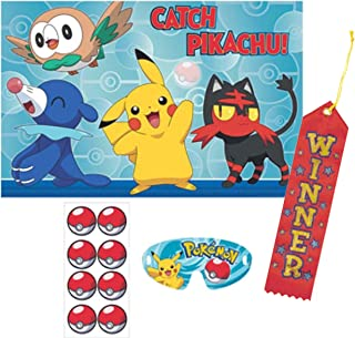Pokemon Gotta Catch Em' All Catch Pikachu Pin The Tail on The Donkey Style Party Game with Blindfold & Poke Ball Stickers! Plus 1st Winner Ribbon