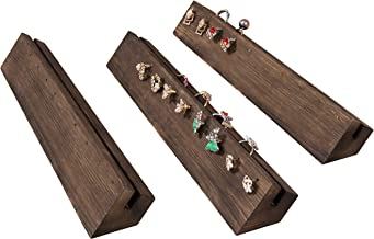 MyGift Rustic Burnt Wood Ring and Earring Jewelry Display Racks, Set of 3