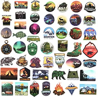 Wilderness Nature Stickers Outdoors Hiking Camping Travel Adventure Stickers Pack 50 Pcs Stickers Vinyl Decals for Water Bottle Hot Stamping Process Motorcycle Bicycle Skateboard Luggage Decal
