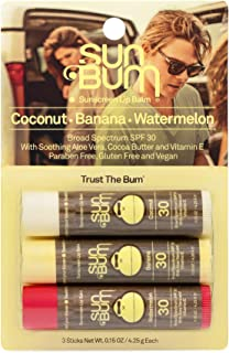 Sun Bum SPF 30 Sunscreen Lip Balm | Vegan and Cruelty Free Broad Spectrum UVA/UVB Lip Care with Aloe and Vitamin E for Moisturized Lips | Variety Pack |.15 oz