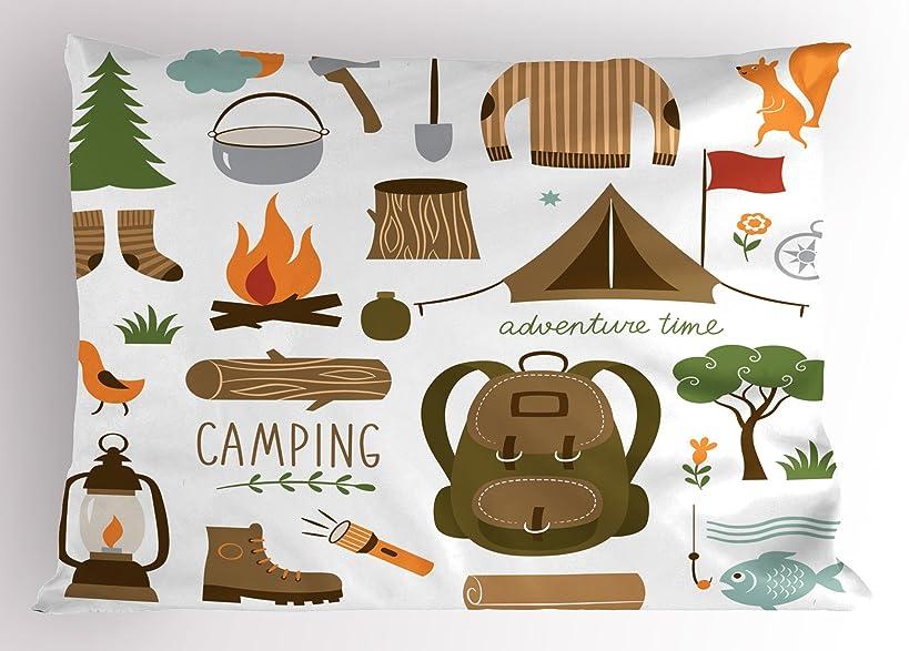 Ambesonne Adventure Pillow Sham, Camping Equipment Sleeping Bag Boots Campfire Shovel Hatchet Log Artwork Print, Decorative Standard Queen Size Printed Pillowcase, 30 X 20 Inches, Multicolor