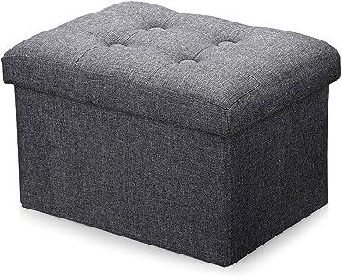 Alasdo Storage Ottoman Foldable Rectangle Cube Coffee Table Multipurpose Foot Rest Short Children Sofa Stool,Linen Fabric Ott