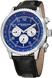 Stuhrling Original Men's 858L.02 Octane Concorso Silhouette Analog Swiss Quartz Black Croc-Textured Leather Watch