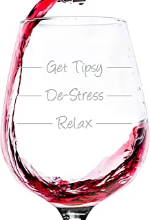 Get Tipsy Funny Wine Glass - Best Mothers Day Gag Gifts For Mom - Unique Gift For Women, Her - Cool Birthday Present Idea From Husband, Son or Daughter - Fun Novelty Gift For Wife, Sister or Friend