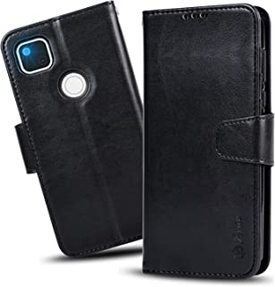 【Amazon限定ブランド】Pixel 4a ケース 手帳型 - Qi充電対応 スマホケース Google Pixel4a ケース 横置き機能 カードポケット付き Arae 財布型 ケース カバー (ブラック)