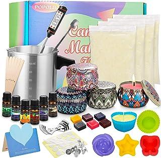 popolic Kit de Fabrication de Bougies de Cire Bricolage parfumées Coffret Cadeau DIY Bricolage,Inclus Cire de soja, boîtes...