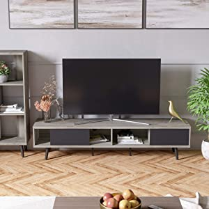 Bestier 70 Inch Mid-Century Modern TV Stand, Wooden Media TV Console w/ Storage Large Entertainment Center 4 Cabinets Sliding Doors for Living Room Sturdy (Gray Walnut)