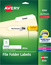 Avery File Folder Labels, TrueBlock Technology, Permanent Adhesive, 2/3