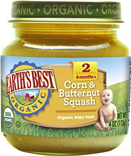 Earth's Best Organic Stage 2 Baby Food, Corn and Butternut Squash, 4 oz.  Jar (Pack of 12)