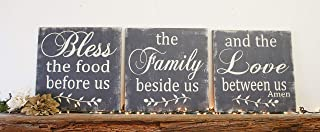 Bless The Food Before Us Wood Wallhanging Wood Kitchen Sign Wall Decor