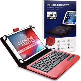 Cooper Infinite Executive Keyboard Case for 7-8 inch Tablets | Universal Fit | 2-in-1 Bluetooth Wireless Keyboard & Leathe...