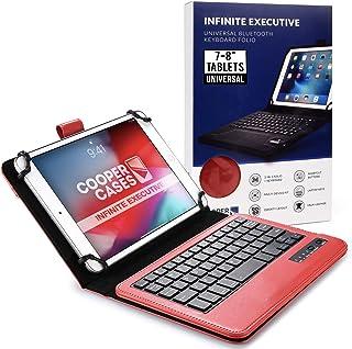 Cooper Cases INFINITEEXECUTIVE Bluetooth キーボード ケース 【 7-8 インチ 汎用 】 ワイヤレス タブレット カバー 着脱可能 上質なPUレザー シンプル (レッド)