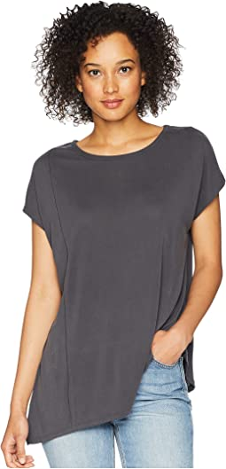 Sandwashed Modal Jersey Raw Edge Asymmetrical Seamed Boxy Tee