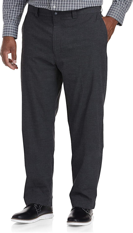 Oak Hill by DXL Big and Tall Straight-Fit Mélange Stretch Twill Pants, Black Melange