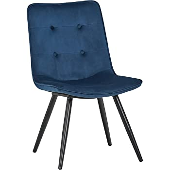 "Amazon Brand – Rivet Modern Tufted-Back Dining Chair, 34""H, Blue"