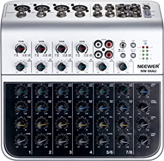 Neewer Stereo Mixer Compact Mini Mixing Console with 4 Channel 2-way Stereo Line Input RCA Input Output 4 Band LED Level Indicator for Computer Microphone, and other Musical Instruments (NW-04AU)