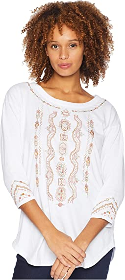 Classic Jersey Embroidered 3/4 Sleeve Easy Fit Tee