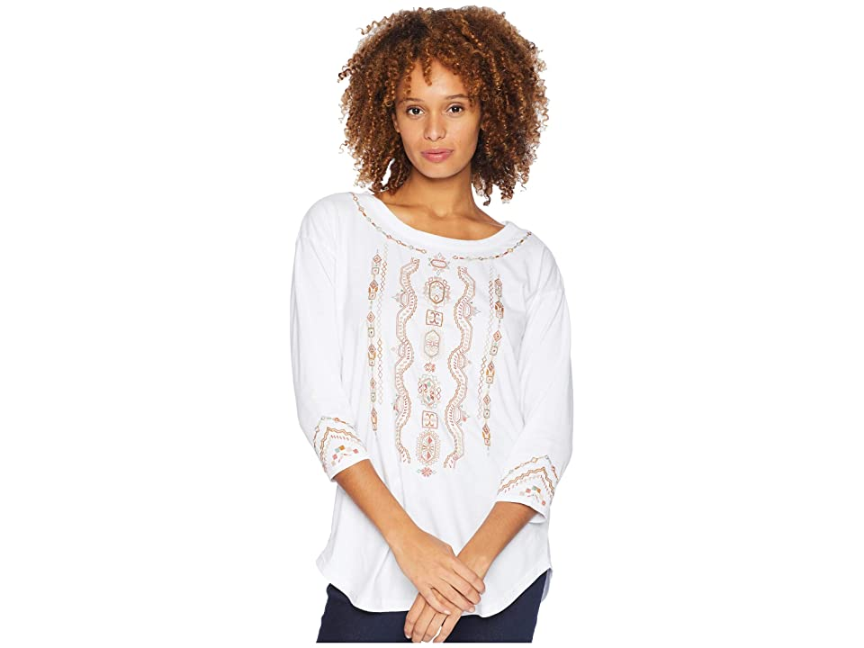 Mod-o-doc Classic Jersey Embroidered 3/4 Sleeve Easy Fit Tee (White) Women